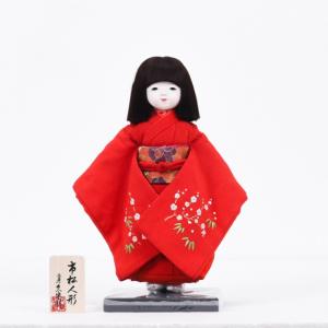 工房朋の赤い衣装を着た女の子の市松人形